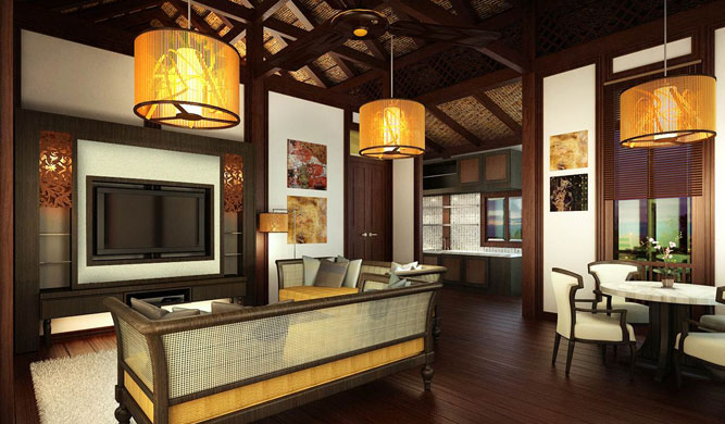 A living room in one of the villas.