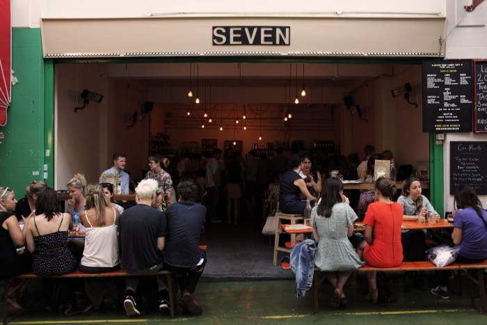 The open-air patio of Seven at Brixton.