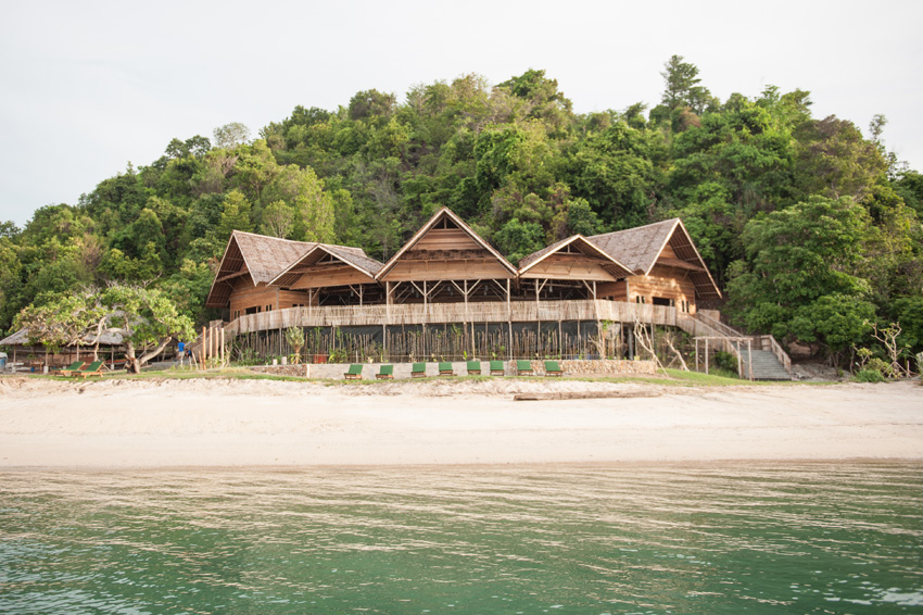 The Telunas Private Island resort lodge offers open-air dining.
