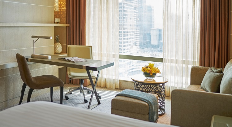 A working desk in one of the hotel's Deluxe Rooms.