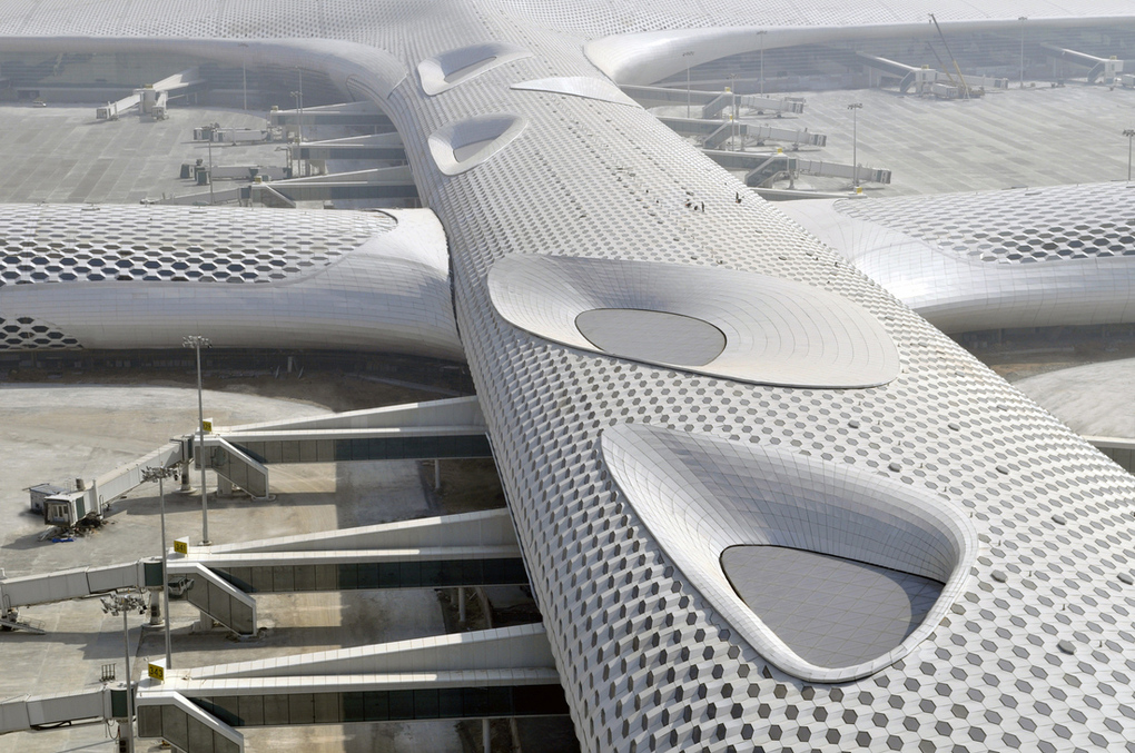 Terminal Three's honeycomb pattern was designed by Italy's Studio Fuksas.
