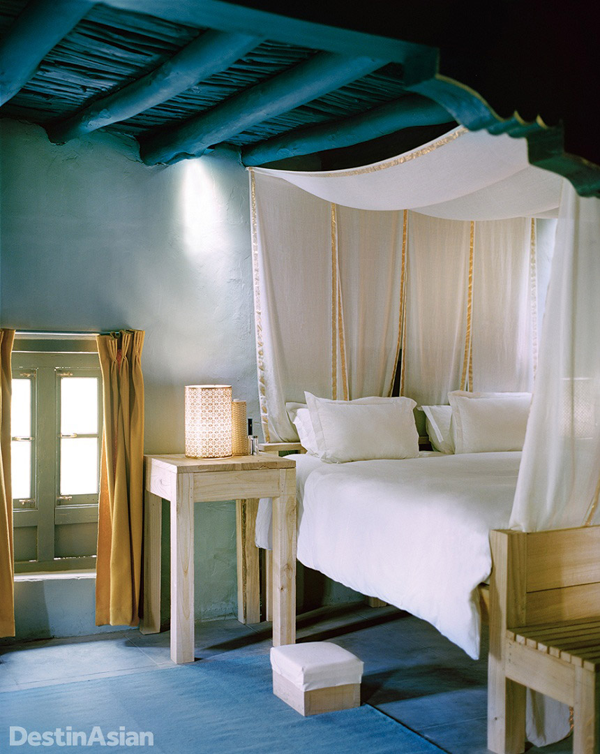 Guest quarters at the century-old Shey house blend traditional architecture and modern comforts.