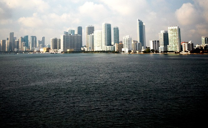 Looking across Biscayne Bay to downtown Miami.