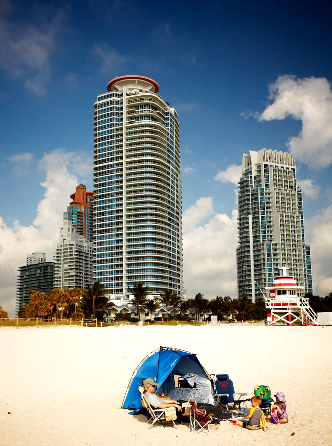 Happy campers at Miami Beach's South Pointe.