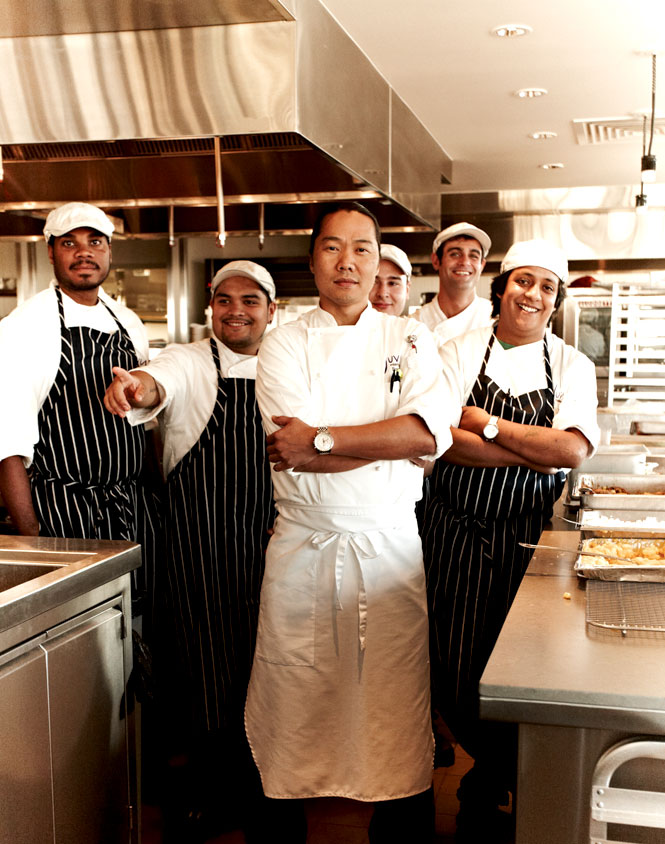 The restaurant's executive chef Sunny Oh with kitchen staff.