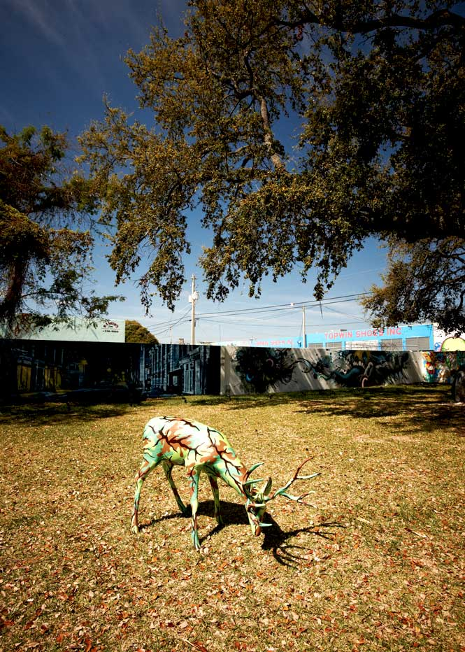 A deer sculpture by Illinois artist Ron English at Wynwood Walls.