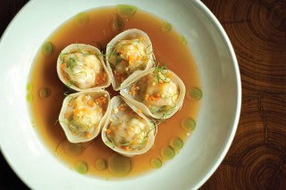 Shrimp dumplings in ginger broth at The Table.
