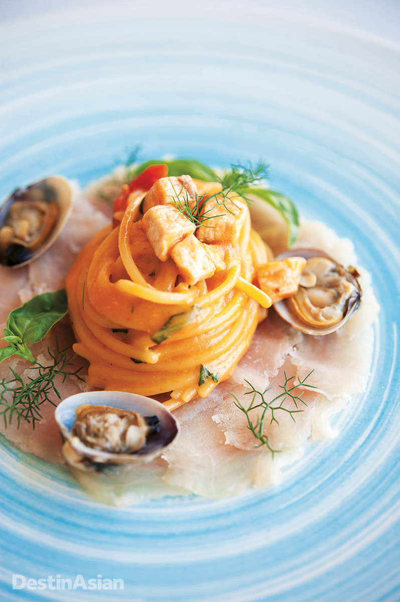 Spaghetti with swordfish and clams at the Belmond Villa Sant'Andrea.