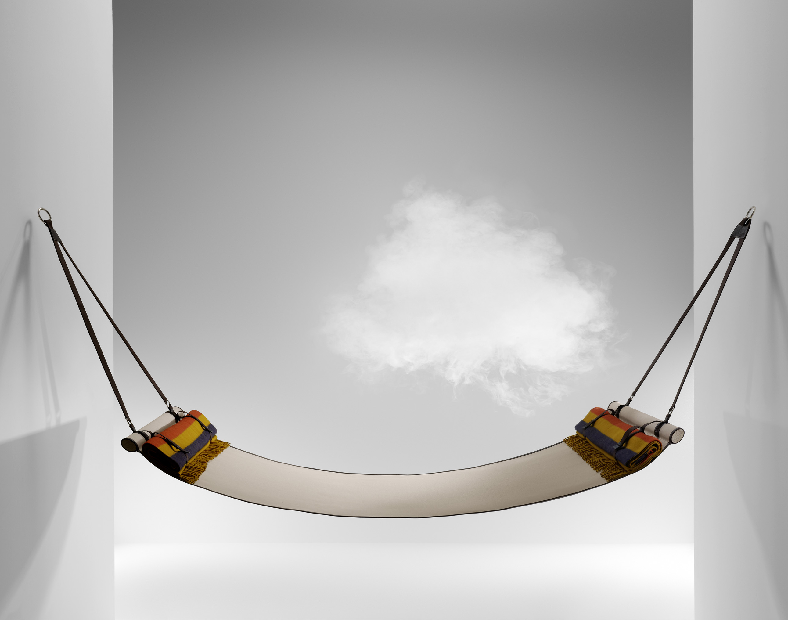A silk and leather hammock.