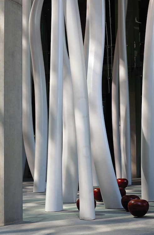 Olafur Eliasson's Above Below Beneath Above is a cluster of sinuous columns inspired by the aerial roots of trees.