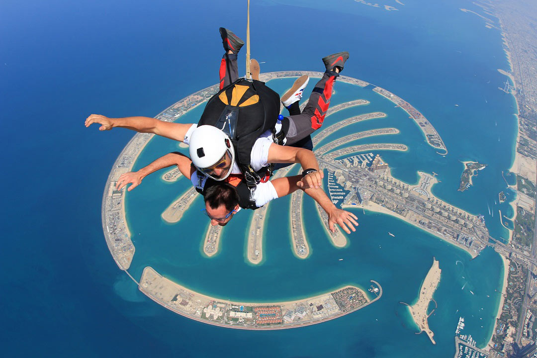 Taking the plunge with Skydive Dubai, which offers tandem jumps above Palm Jumeirah.