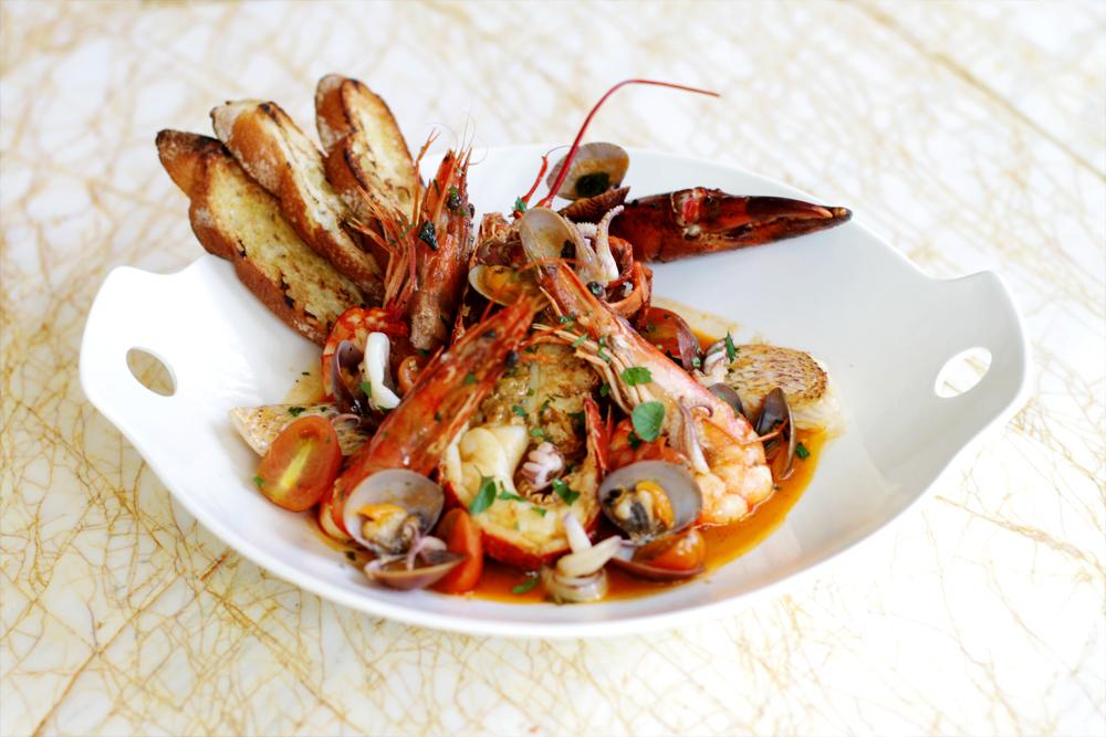 Soleil's Tuscan Seafood Stew.