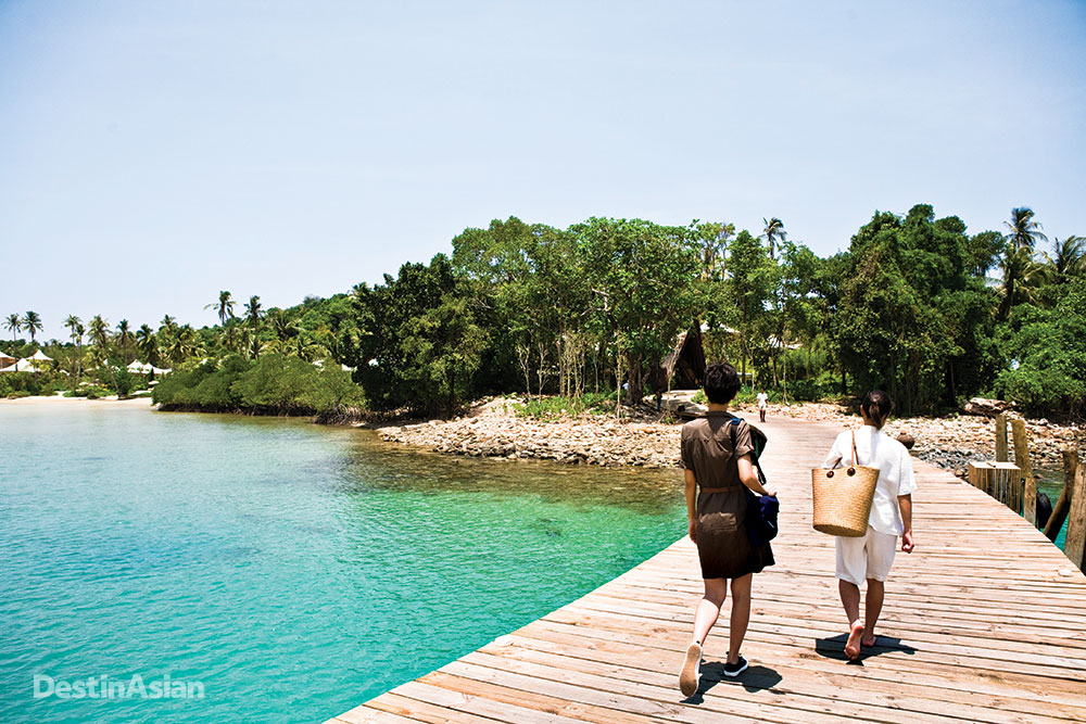 On the jetty at Soneva Kiri.