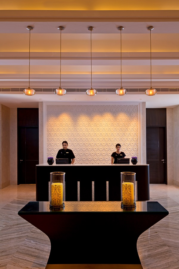 The reception at the spa, where guests can choose from an extensive menu of treatments.