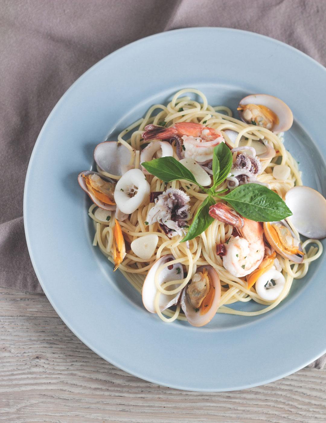 Seafood spaghetti aglio at Texture.