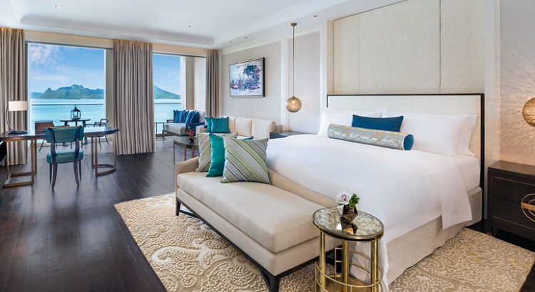 One of the rooms at St. Regis Langkawi, with a view of the sea.