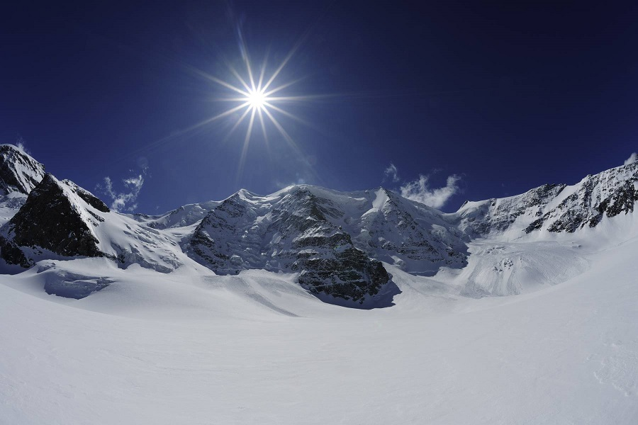 Untouched slopes on Piz Palue mountain.