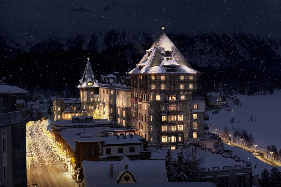 Badrutt's Palace in the wintertime.