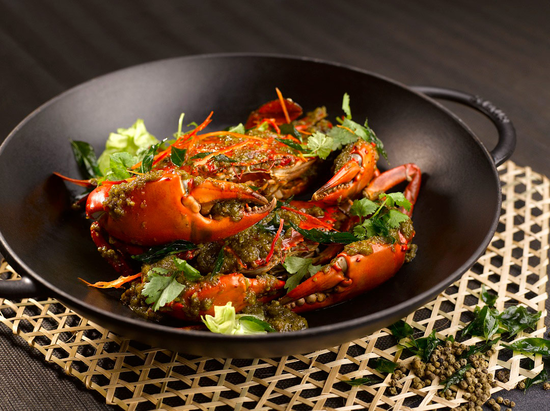 Pepper Crab at StraitsKitchen, one of five dining venues at Grand Hyatt Singapore.