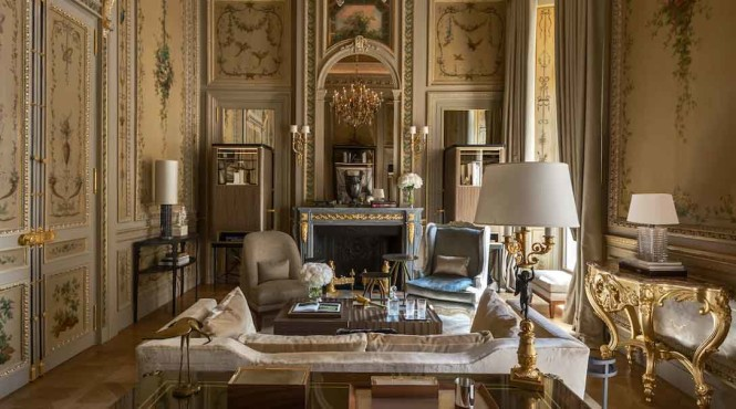 Suite Duc De Crillon's living room. All photos courtesy of the property.