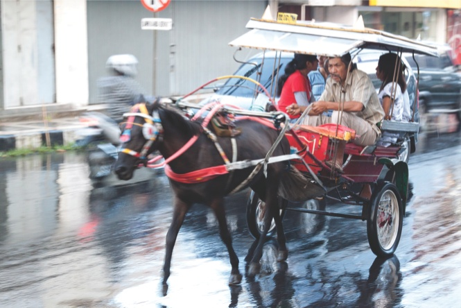 Horse-drawn carts, called bendi, are still used for short-distance transportation.