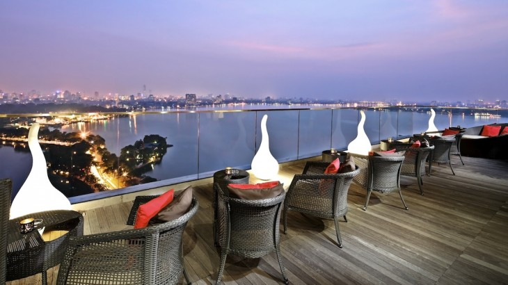 Catch views of West Lake from Summit Lounge's rooftop.