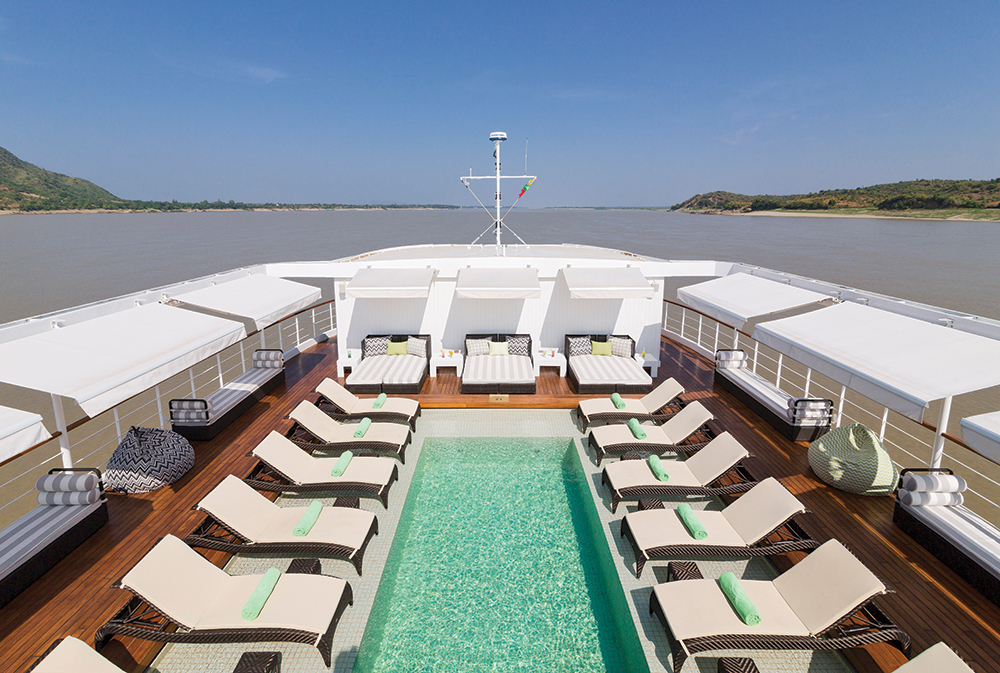 The pool on the boat's sundeck.