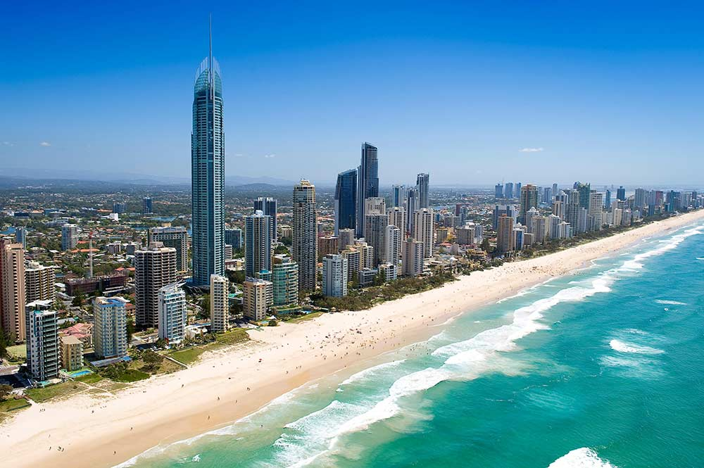 The coast of Surfer's Paradise in Gold Coast.