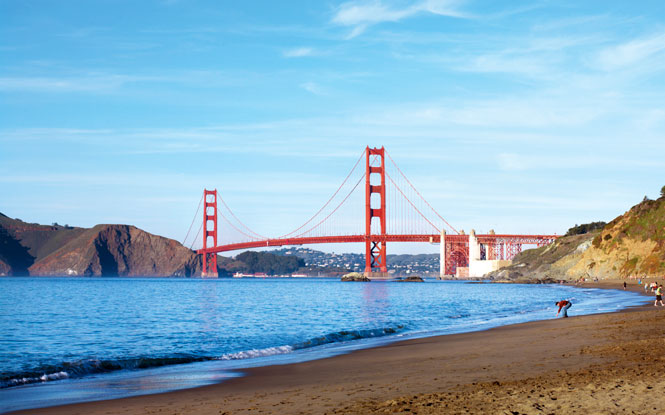 The Pacific side of the Golden Gate Bridge, as seen from Baker Beach.
