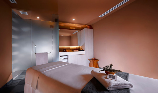 One of the serene treatment rooms inside the spa.