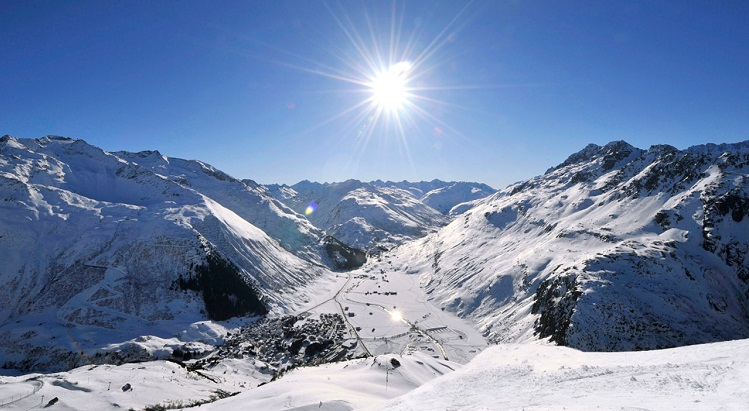 Mount Gemmstock (left) and Mount Nätschen (right) are two of the most prominent mountains in the Andermatt area.