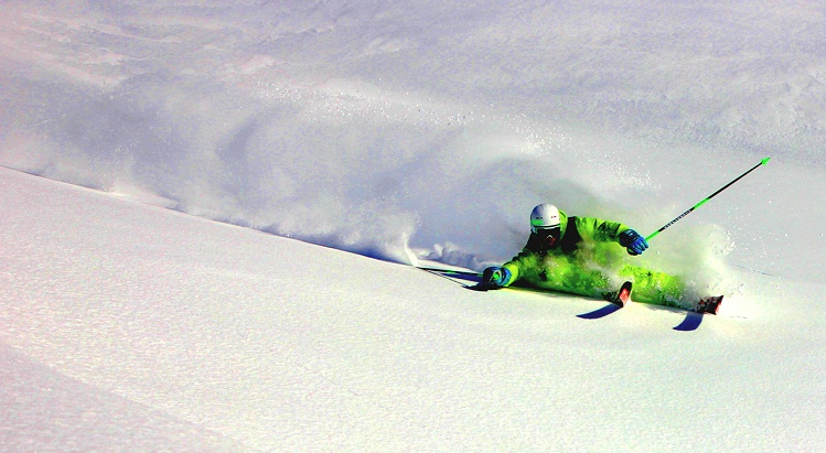 Eric Zeller has skied far and wide, and here is shown skiing in Canada.