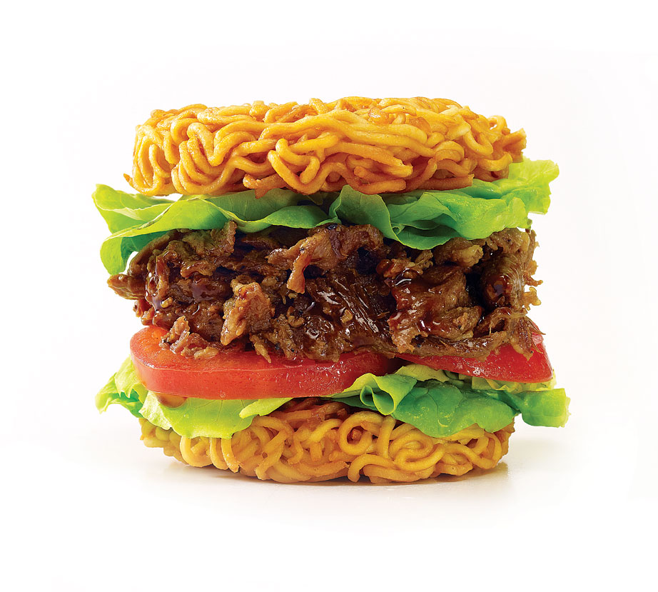 The Travelling COW gave the popular ramen burger a more Asian twist, like this bulgogi-beef version.