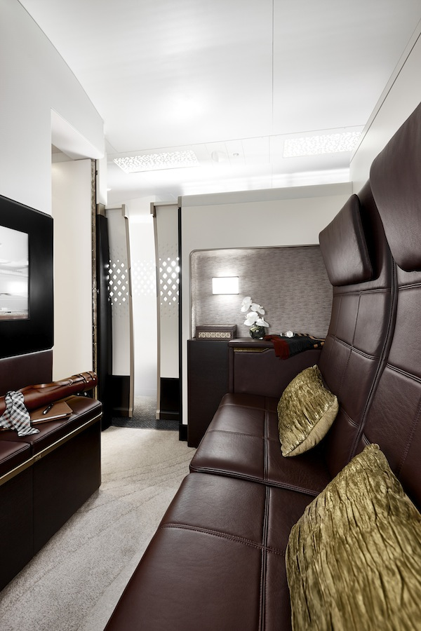 The Resident's Lounge is outfitted with Poltrona Frau leather—the same leather used in a Ferrari.