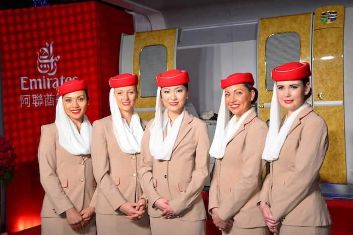 Emirates flight attendants at the launch of the Taipei route.