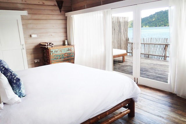Rustic-chic villas at Telunas Private Island open up to views of the surrounding sea.