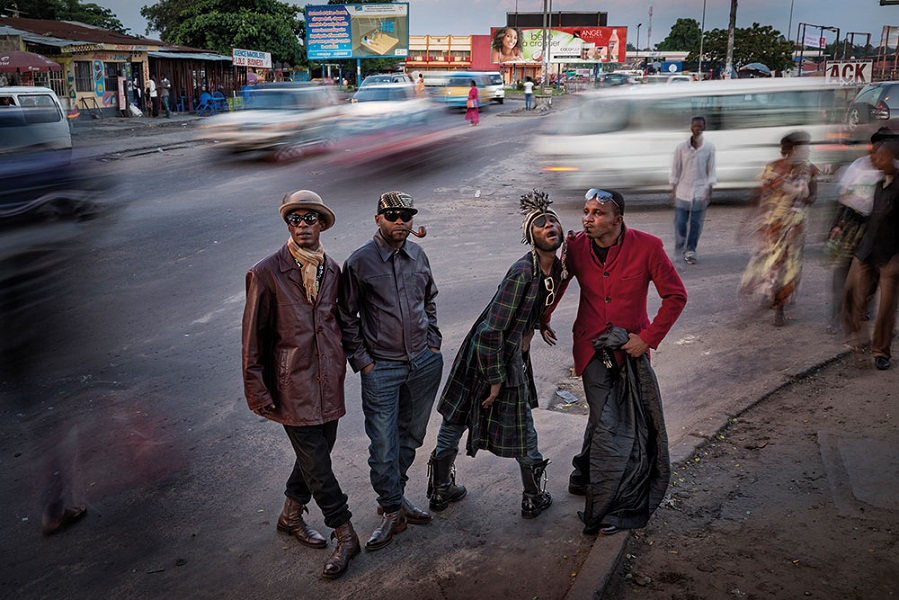 Members of the Society of Elegant Persons of the Congo—better known as the Sapeurs—appear in this photo shot by Johnny Haglund on the streets of Kinshasa.