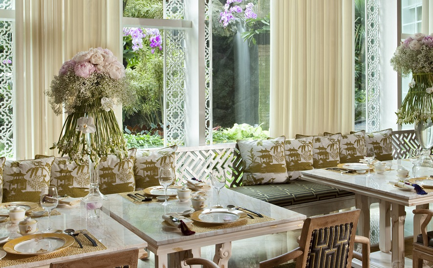 Natural light floods into the warmly decorated restaurant.
