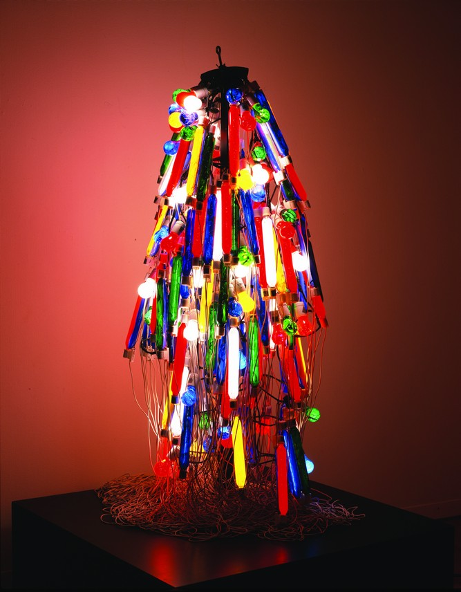 Electric Dress, a wearable, burka-like work created in 1956 by Atsuko Tanaka, a member of Japan's avant-garde Gutai movement.
