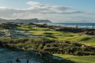 The scenic par-4 seventh hole at Tara Iti Golf Club on New Zealand's North Island.