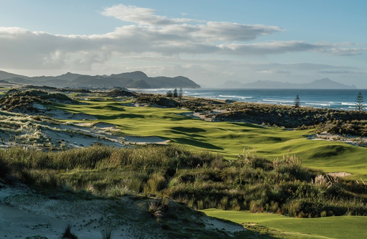 The scenic par-4 seventh hole at Tara Iti Golf Club on New Zealand's North Island.