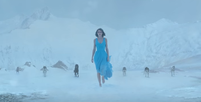"Taylor Swift in New Zealand's Southern Alps for her music video of ""Out of the Woods""."