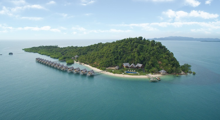 A bird's-eye view of Telunas Private Island and its 15 overwater villas.