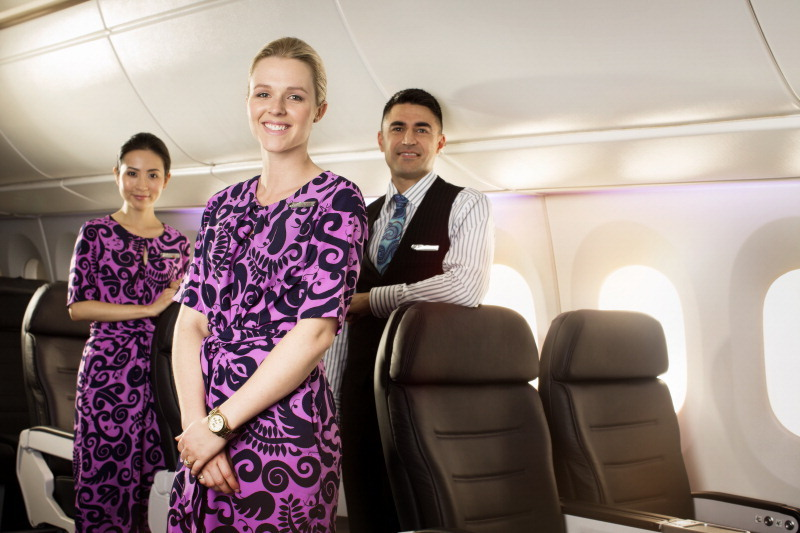 Air New Zealand flight attendants in a mock-up of the cabin of the new Boeing 787-9 Dreamliner.