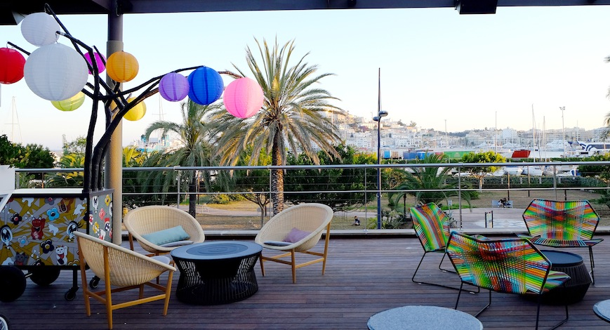 The Terrace, which overlooks the Puerto de Ibiza.