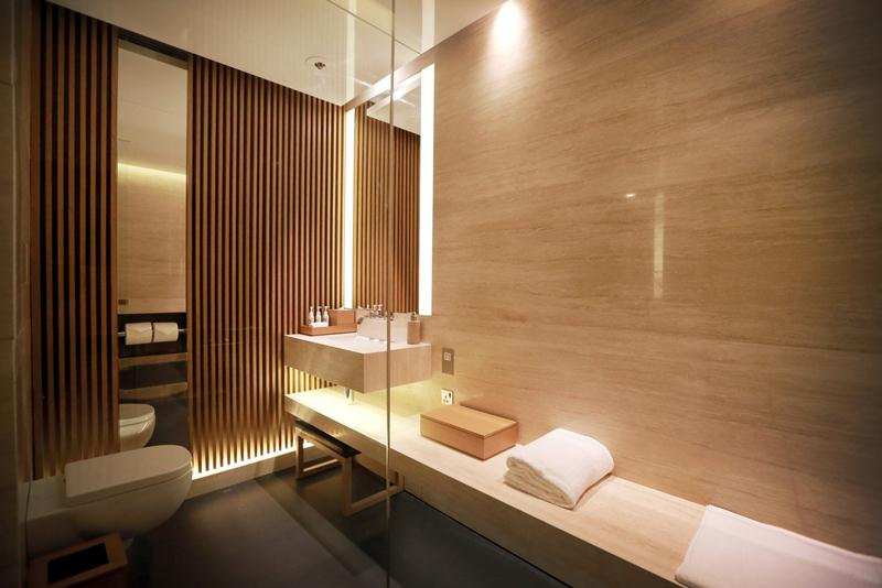 One of the nine shower suites at The Bridge