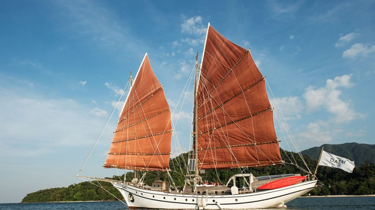 The traditionally built Naag Pelangi will soon be sailing from Langkawi's Datai Bay to the southern Thai island of Koh Tarutao.