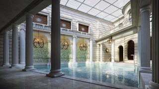 The three thermal pools in the spa are set apart from one another by Romanesque pillars.
