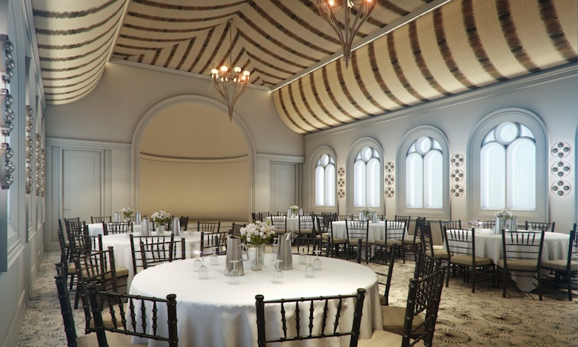 The 92-square-meter Chapel room is the hotel's largest event space, with a tented ceiling and windows overlooking the thermal pools.