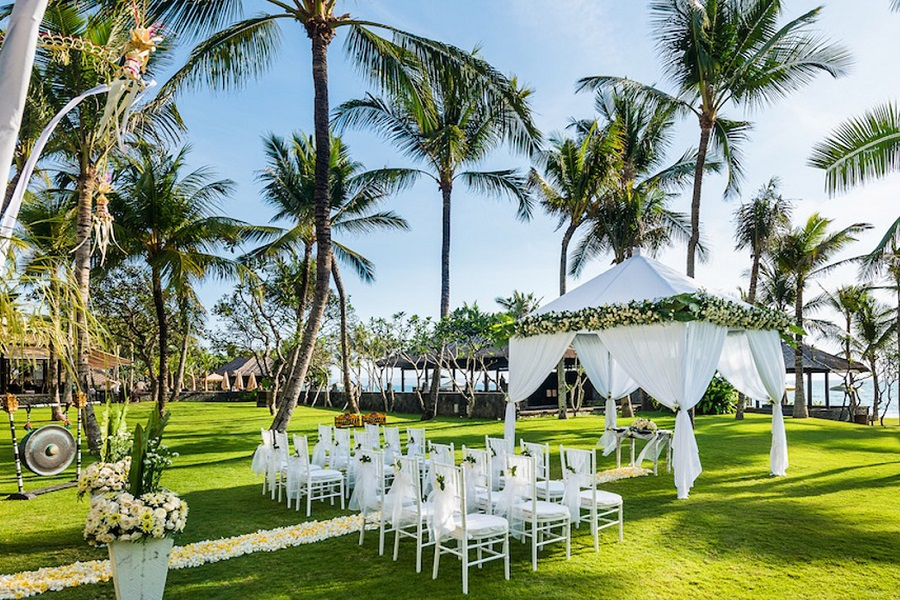 An intimate wedding ceremony setup at The Legian Bali.